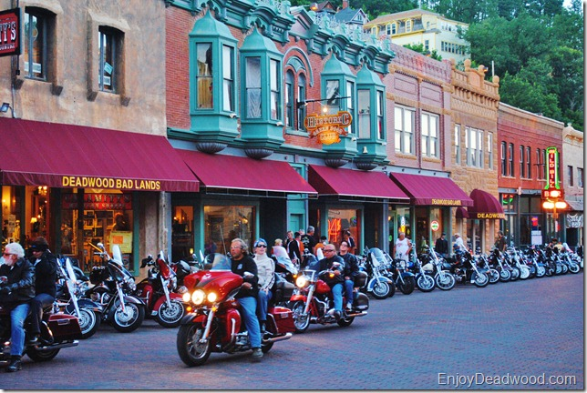 photo of people and motorcycles on Deadwood South Dakota Main Street